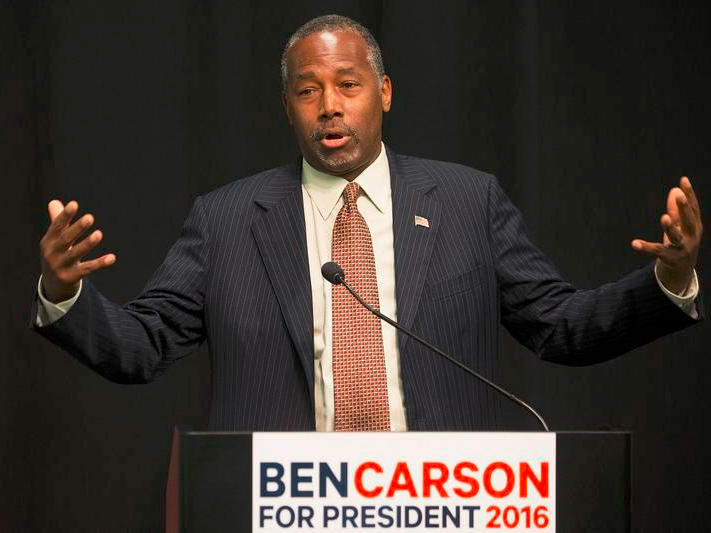 Republican presidential candidate Ben Carson speaks at a news conference before a campaign rally at the Sharonville Convention Center, Tuesday, Sept. 22, 2015, in Cincinnati.