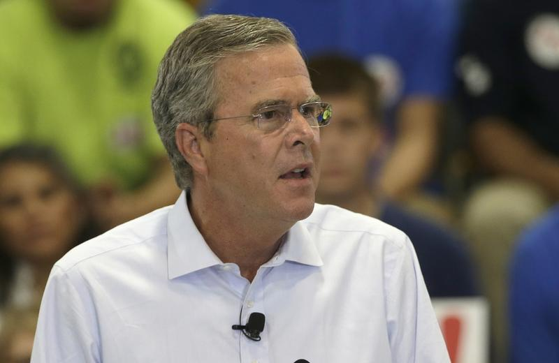Republican presidential candidate, former Florida Gov. Jeb Bush, details his tax reform plan in a speech at Morris & Associates in Garner, N.C., Wednesday, Sept. 9, 2015. (AP Photo/Gerry Broome