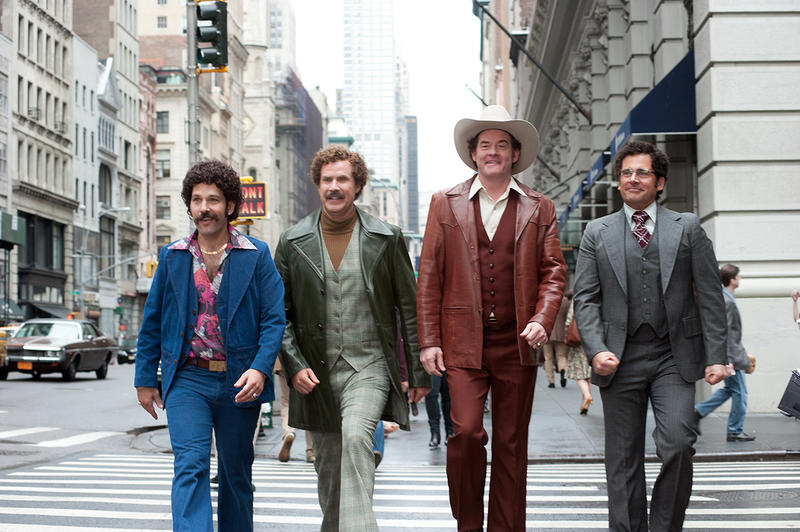 (Left to right) Paul Rudd is Brian Fantana, Will Ferrell is Ron Burgundy, David Koechner is Champ Kind and Steve Carell is Brick Tamland in ANCHORMAN 2: THE LEGEND CONTINUES to be released by Paramount Pictures.