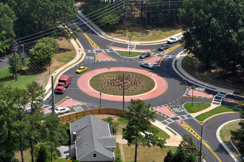 Roundabout where Grimes Bridge Road meets Warsaw Road in Roswell
