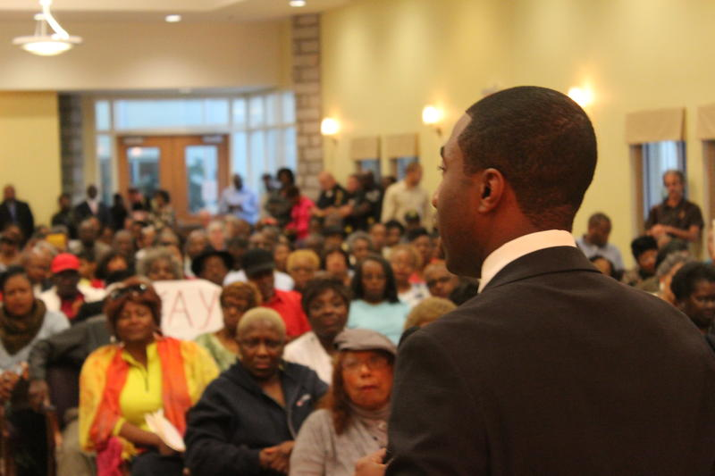 Interim Dekalb County CEO Lee May addresses a town hall meeting in Lithonia.