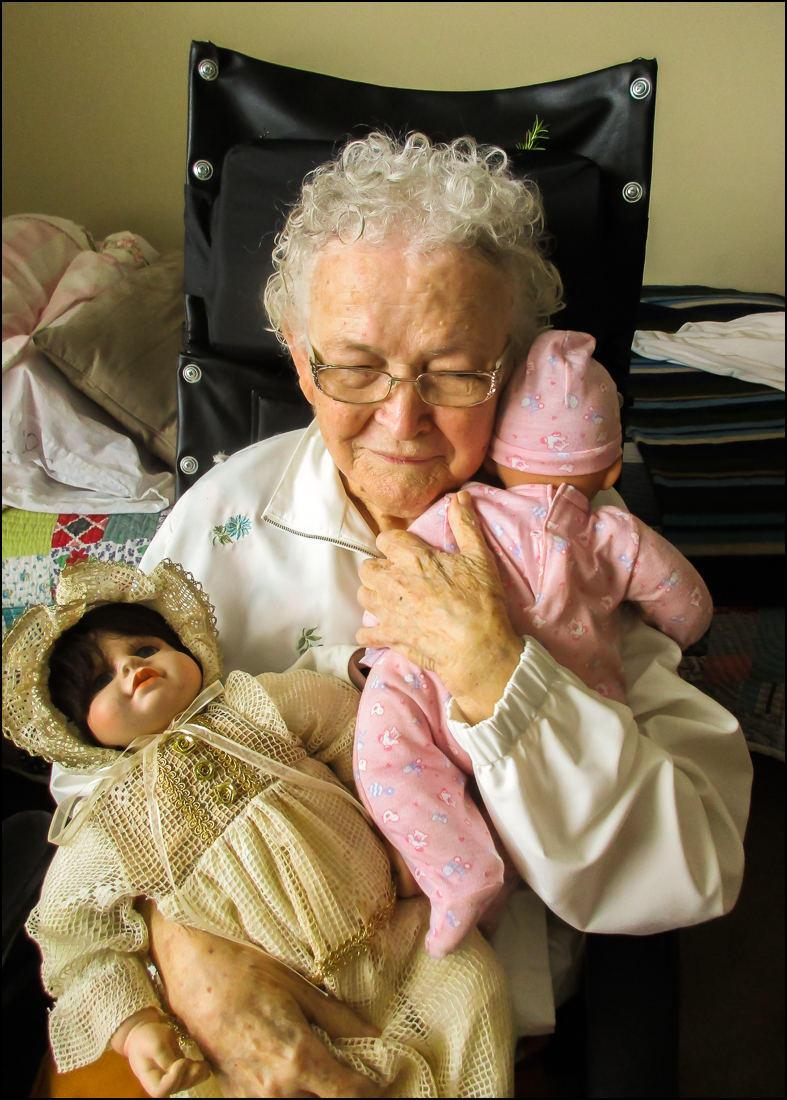 Leslie Merriman's mother holds a doll belonging to her granddaughter.