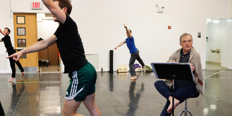 Choreographer Mark Morris observes rehearsal.