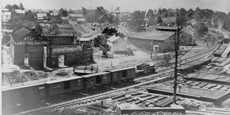 [View of Atlanta, Georgia, with railroad cars in left foreground] Created / Published [photographed between 1861 and 1865, printed later]