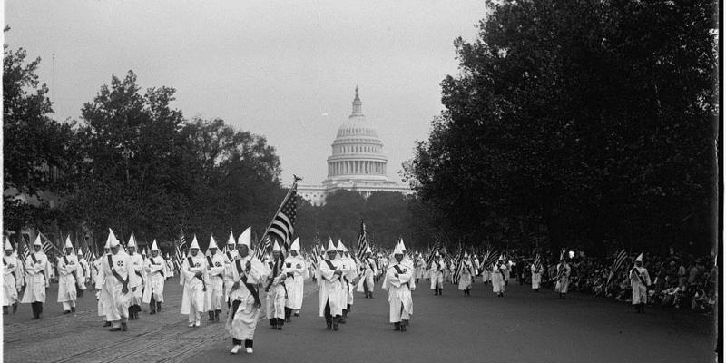 At its height, the second Ku Klux Klan, which started in Atlanta 100 years ago, had more than 4 million members nationwide. Pictured here is a 1926 rally in Washington, D.C.