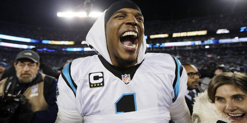 Carolina Panthers' Cam Newton celebrates after the NFL football NFC Championship game against the Arizona Cardinals, Sunday, Jan. 24, 2016, in Charlotte, N.C. The Panthers won 49-15 to advance to the Super Bowl.