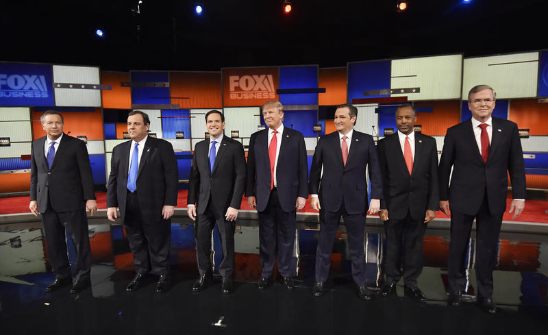 before the Fox Business Network Republican presidential debate at the North Charleston Coliseum, Thursday, Jan. 14, 2016, in North Charleston, S.C.