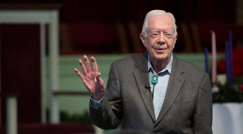 Former President Jimmy Carter teaches during Sunday School class at Maranatha Baptist Church in his hometown, Sunday, Dec. 13, 2015, in Plains, Ga.