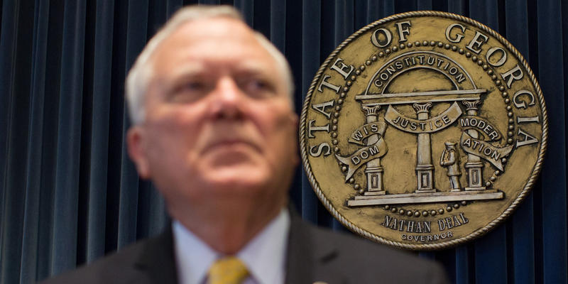 Georgia Gov. Nathan Deal speaks during a press conference, Wednesday, Nov. 5, 2014, in Atlanta.