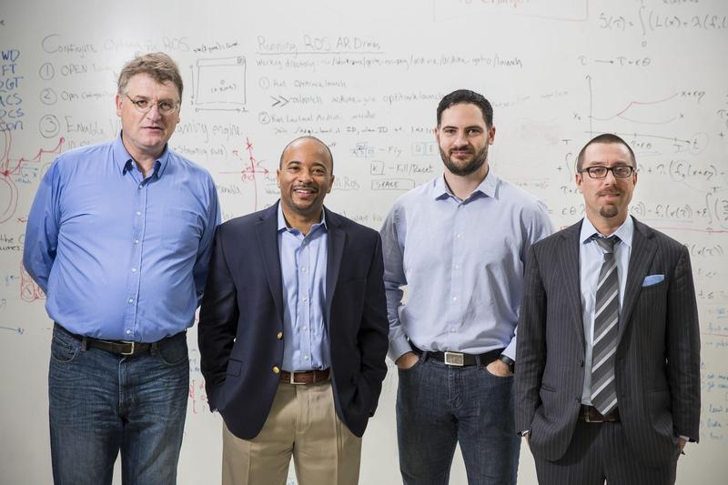 Georgia Tech faculty members Eric Feron, Raheem Beyah, Aaron Ames and Magnus Egerstedt are collaborating on the Robotarium.
