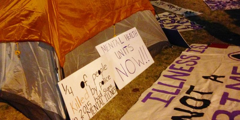 Protesters plan to camp outside the Dekalb County Courthouse until Thursday, at least, when a criminal grand jury considers the case of Officer Robert Olsen.