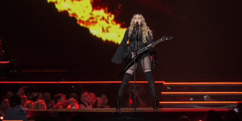 Madonna performs on stage at the o2 arena in London, as part of her Rebel Heart Tour.
