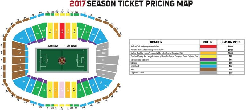 Season ticket prices for 2017 range from $360 to $4050.