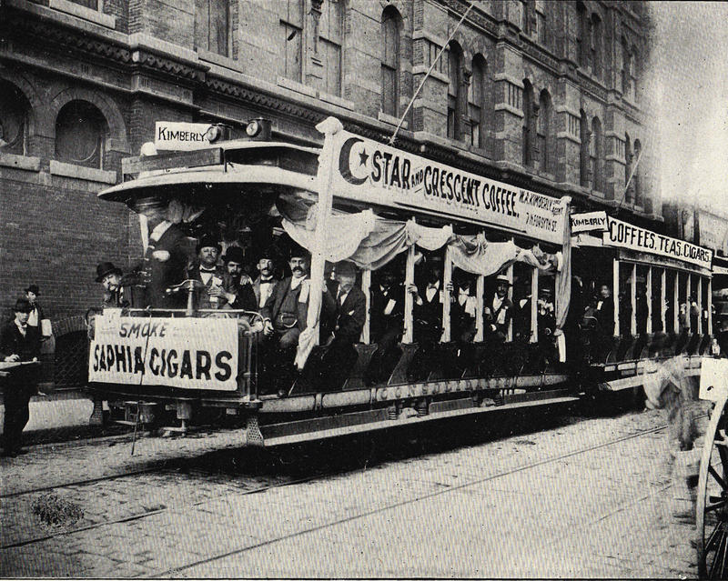 Corporate Outing on an Atlanta Consolidated Streetcar in Downtown Atlanta, c.1895