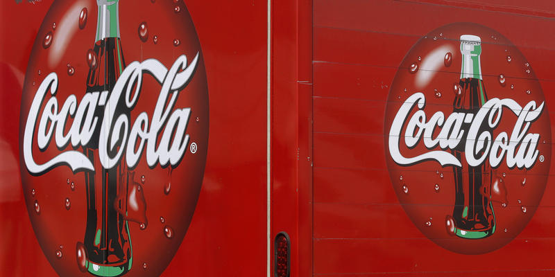 In this Monday, Aug. 31, 2015 photo, a Coke truck delivers Coca Cola at the Farm Progress Show in Decatur, Ill.