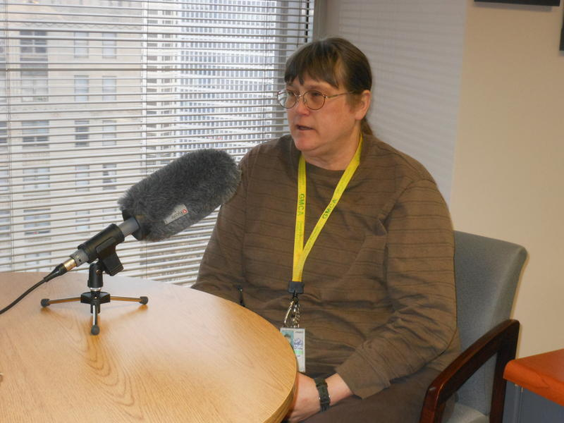 Dr. Rosemarie Kelly, public health entomologist with the Georgia Department of Public Health, speaking with Denis O'Hayer on February 15, 2016 in the DPH offices in downtown Atlanta.