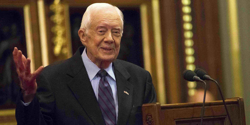 Former U.S. President Jimmy Carter delivers a lecture on the eradication of the Guinea worm, at the House of Lords in London, Wednesday, Feb. 3, 2016.