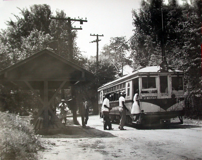 Riders boarding Stone Mountain Interurban Car 480 in Stone Mountain, c. 1940