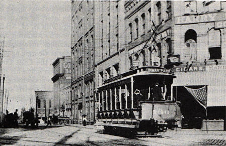 Streetcar on the Inman Park Line in Downtown Atlanta, c.1895
