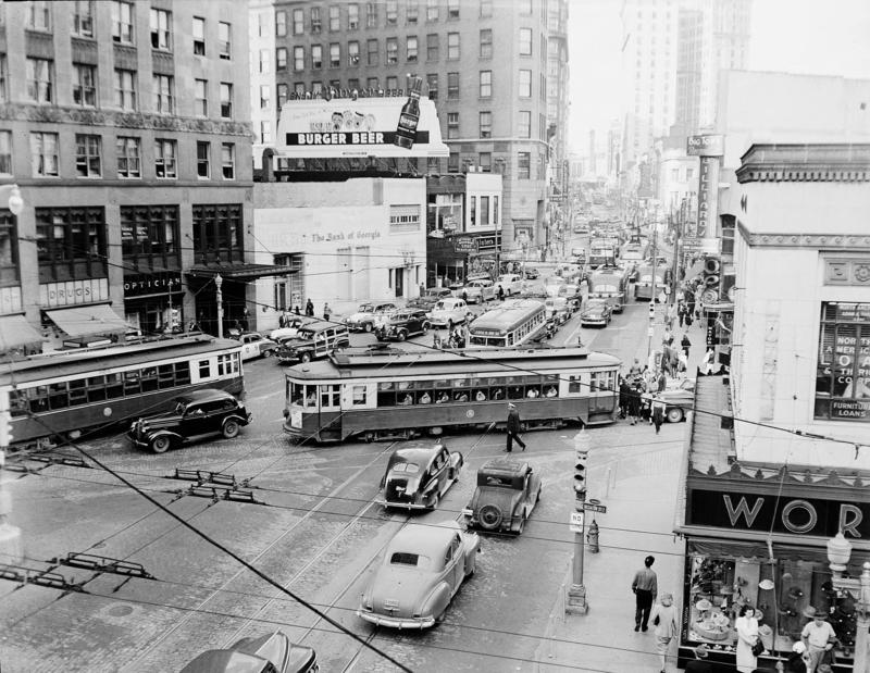Streetcars in Five Points, Atlanta, 1948
