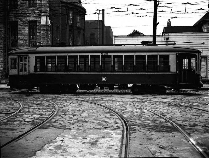Streetcar and Granite Block-Paved Track in Downtown Atlanta, 1941