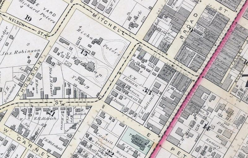 Depictions of Mule-Drawn Streetcar Lines along Nelson, Peters, Mitchell and Whitehall Streets in Atlanta, 1878