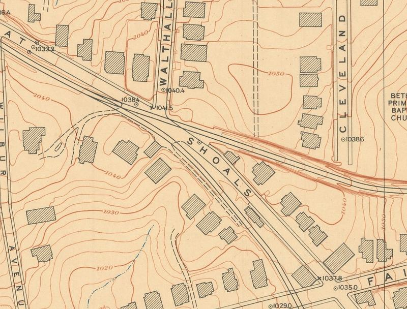 Divergence of Streetcar right-of-way from Flat Shoals Avenue, Reynoldstown Neighborhood, Atlanta 1928