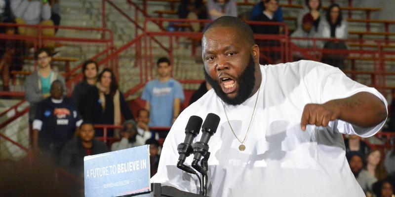 Atlanta rapper Killer Mike introduces Bernie Sanders at Morehouse.