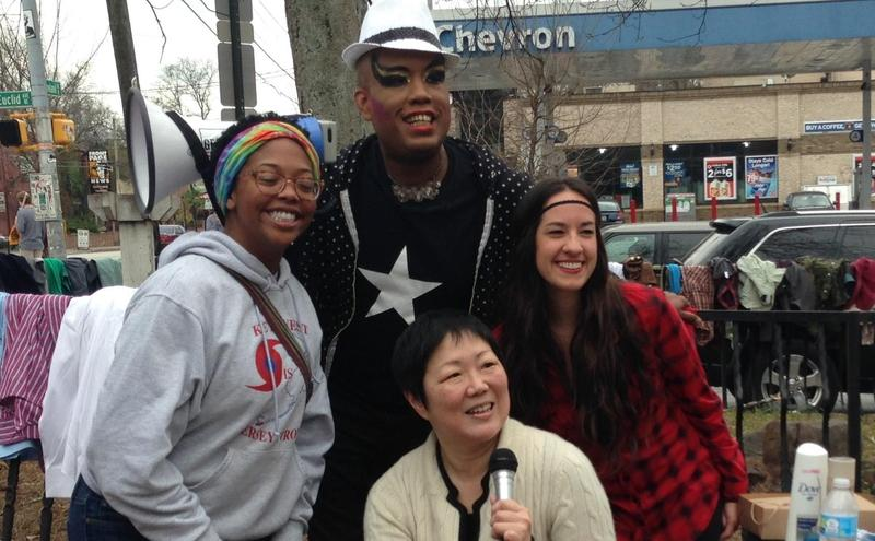 Comedian Margaret Cho poses with fans in Little Five Points Sunday. She came to Atlanta to raise money for the homeless.
