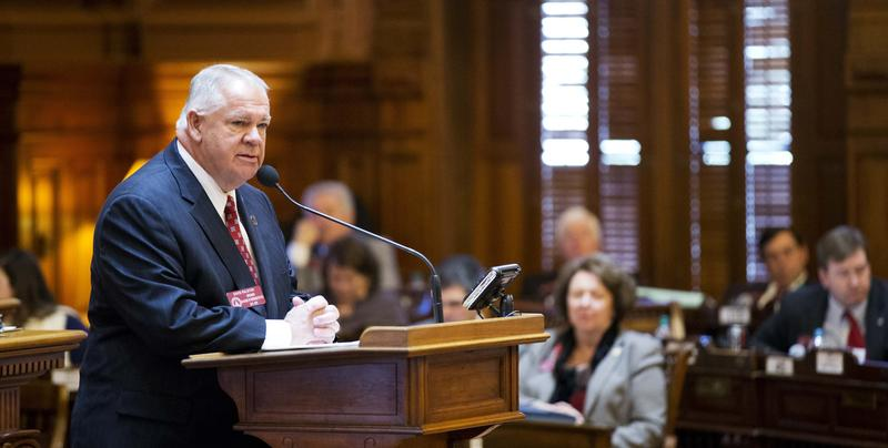 House Speaker David Ralston speaks on the House floor in favor of a bill explicitly stating that religious officials don't have to perform same-sex marriages that violate their faith, Thursday, Feb. 11, 2016.