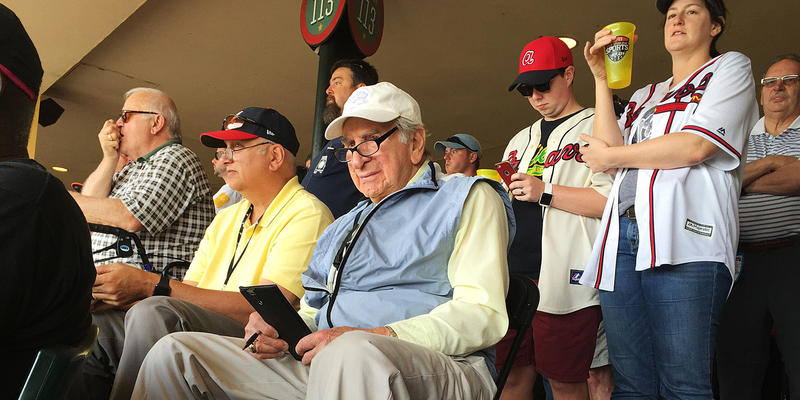 Tommy Giordano, special assistant to the general manager of the Atlanta Braves, scouts an exhibition spring training baseball game between the Braves and the Pittsburgh Pirates, Saturday, March 5, 2016, in Kissimmee, Fla.