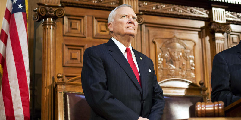 Georgia Gov. Nathan Deal waits to deliver his State of the State address on the House floor at the Capitol Wednesday, Jan. 13, 2016, in Atlanta.