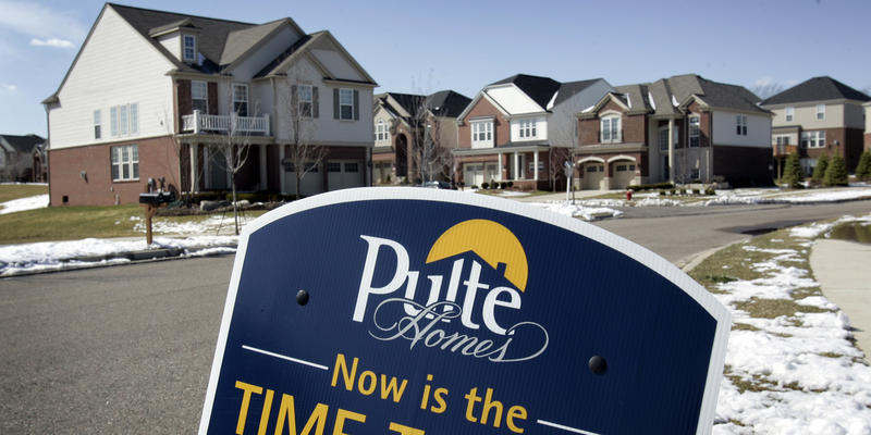 In this April 8, 2009 file photo, the Pulte Homes community of Liberty Park is seen in Novi, Mich.