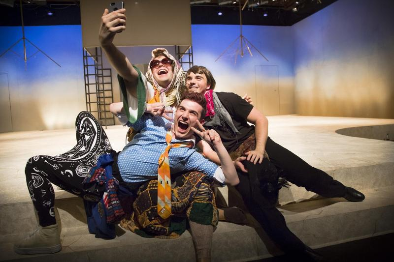 "Alex Fellows, Josh Oberlander and Max McCreary (left to right) are part of the all-male cast of ""As You Like It."" This contemporary version of the play is set at Burning Man."