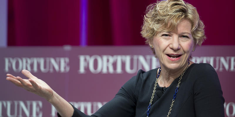 Sue Desmond-Hellmann, Chief Executive Officer of the Bill and Melinda Gates Foundation speaks at the Fortune Most Powerful Women Summit at the Mandarin Oriental hotel in Washington Oct. 14, 2015.