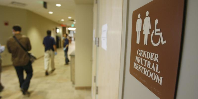 A sign marks the entrance to a gender neutral restroom at the University of Vermont in Burlington, Vt., Thursday, Aug. 23, 2007.