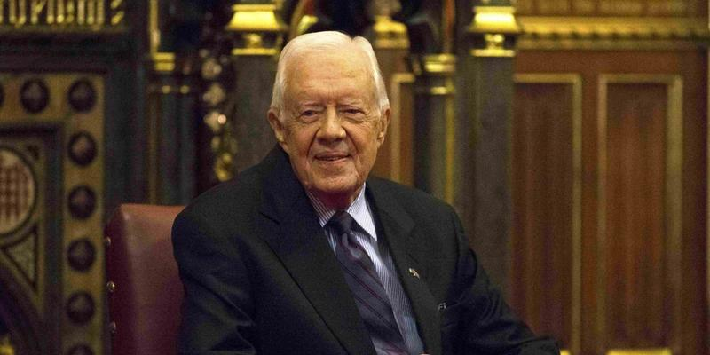 Former President Jimmy Carter spoke Wednesday at Atlanta's Emory University. His topics included immigration and health care.