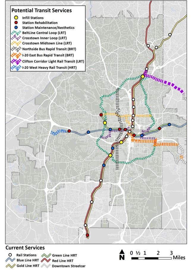 MARTA's dream map for the future of transit in Atlanta.