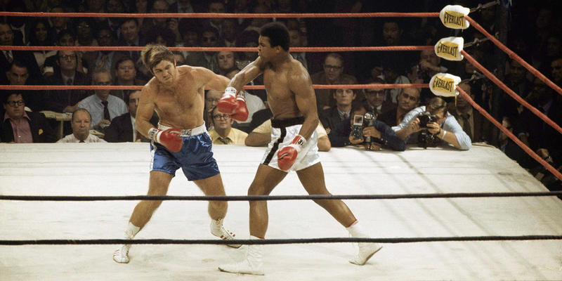 Muhammad Ali delivers a hard right to Jerry Quarry on October 26, 1970 in a scheduled 15 round fight at Atlanta, Ga.