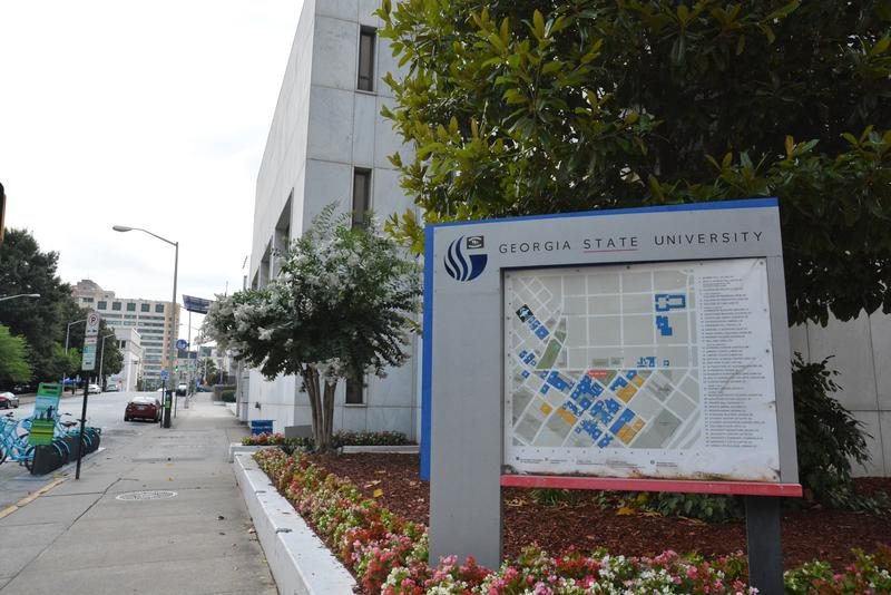 A campus map displaying Georgia State campus buildings. The university has expanded since the 1996 Olympics.