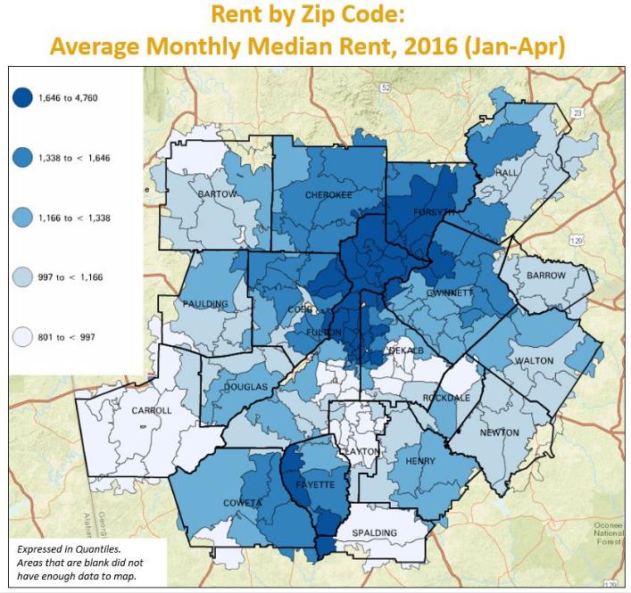 How Metro Atlanta Home Rent Varies By Zip Code Wabe 90 1 Fm