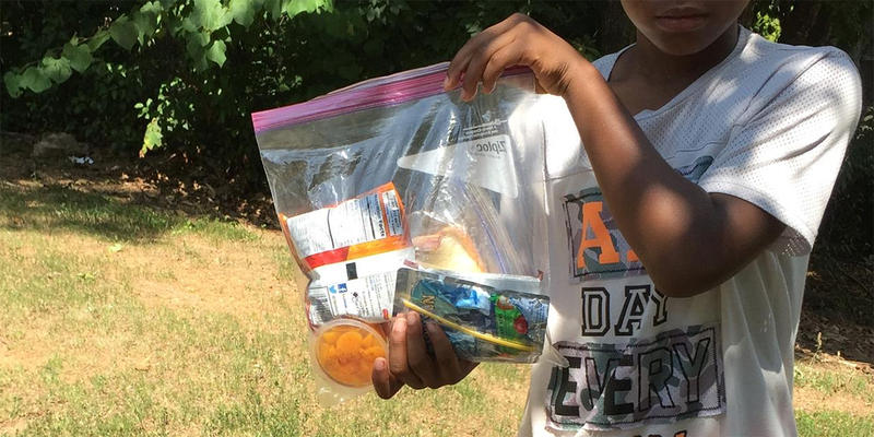 The bagged lunches are designed so that kids can serve themselves, without adult assistance.
