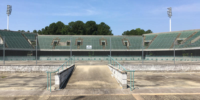 The former Olympic Tennis Stadium at Stone Mountain is now abandoned. Park officials say it hasn't been used in over a decade.