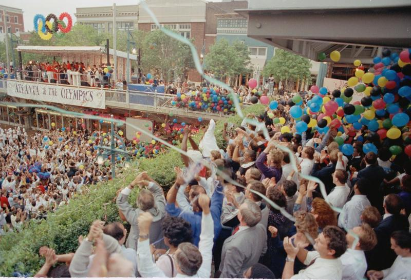 Several thousand people gathered at Underground Atlanta to await the site selection announcement for the 1996 Summer Olympics, Sept. 18, 1990.