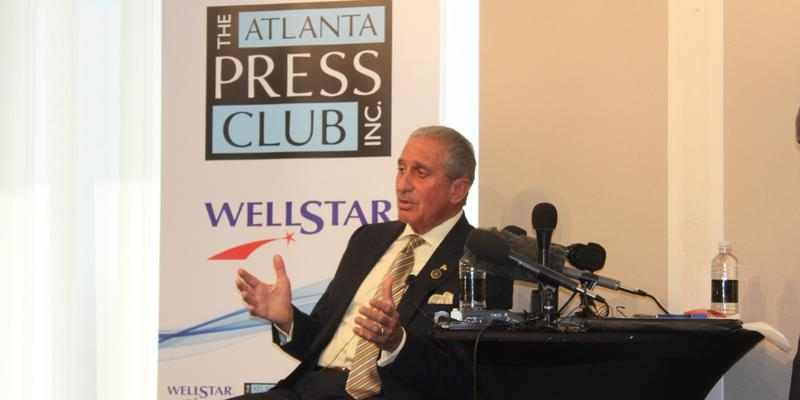 Falcons owner Arthur Blank speaks at an event hosted by the Atlanta Press Club.