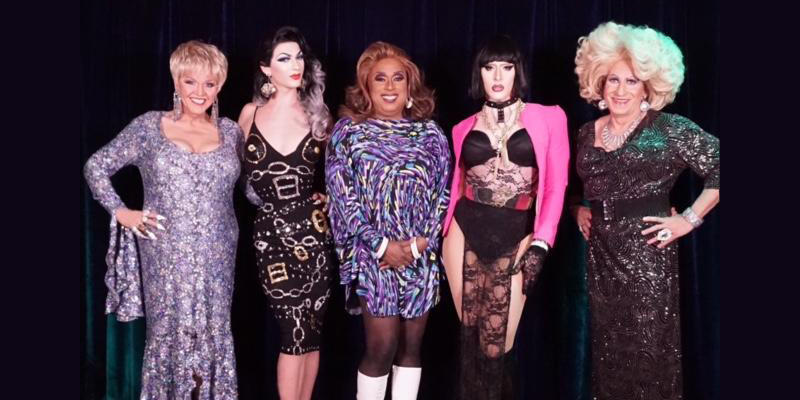 """The cast of """"Atlanta's A Drag"""" pose: from left, Mr. Charlie Brown, Violet Chacki, Wild Cherry Sucret, B**** Puddin' and Bubba D. Licious."""