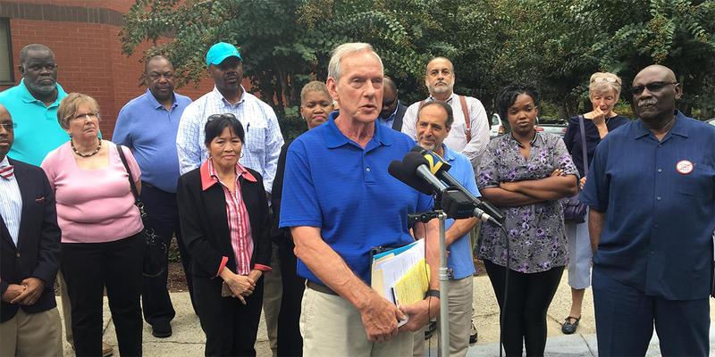 Retired Marietta High School Teacher Ken Sprague explains the civil rights complaint against the district.