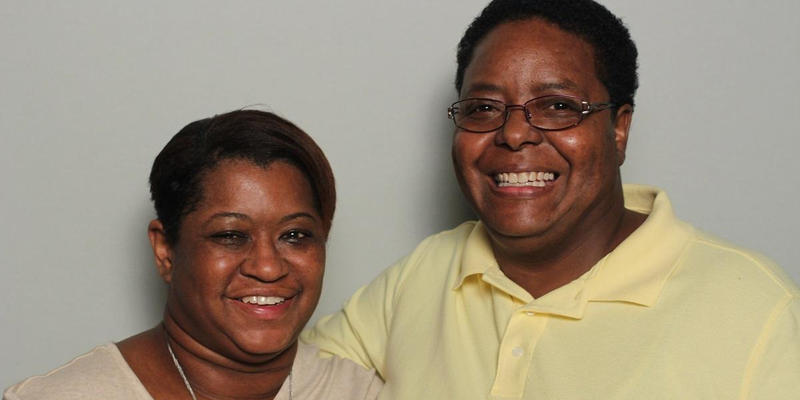 Annise Mabry and Benae Ingram interviewed each other in the StoryCorps Atlanta booth.
