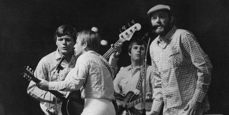 The Beach Boys are pictured performing on stage in Essen, West Germany, October 30, 1966.