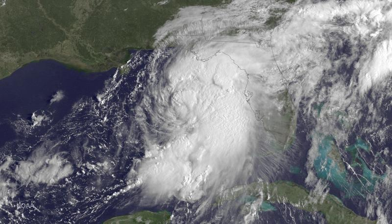This GOES East satellite image taken at 9:15 a.m EDT, on Thursday, Sept. 1, 2016, and release by NOAA shows Tropical Storm Hermine gathering strength in the Gulf of Mexico.